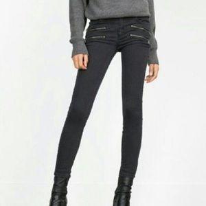 ZARA Black Moto Biker Skinny Jeans sz 4